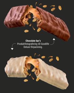 Produktfotografering Goodlife deluxe chokladbar Jannica Figur
